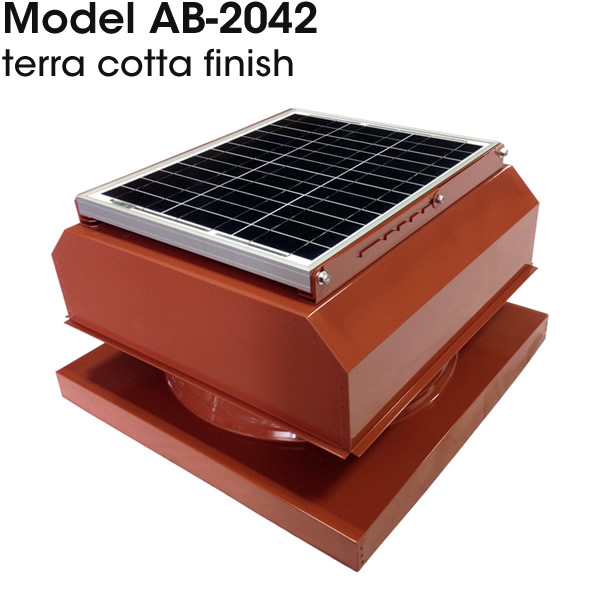 AB-2042 solar attic fan in terra cotta finish