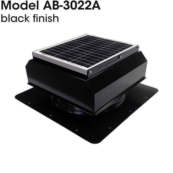 AB-3022A solar attic fan in black finish.