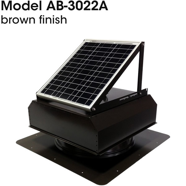 AB-3022A solar attic fan in brown finish.