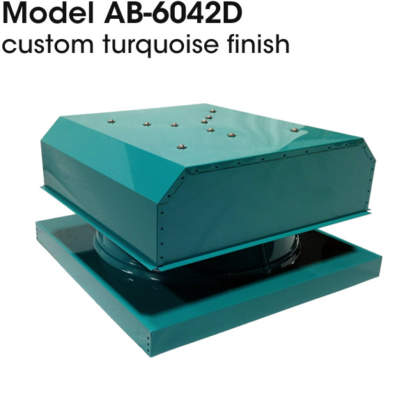 AB-6042D solar attic fan in custom turquoise finish