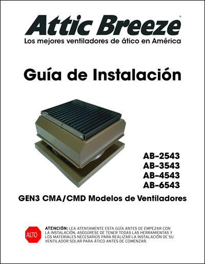Attic Breeze Generation I CMA/CMD model series installation guide - Spanish