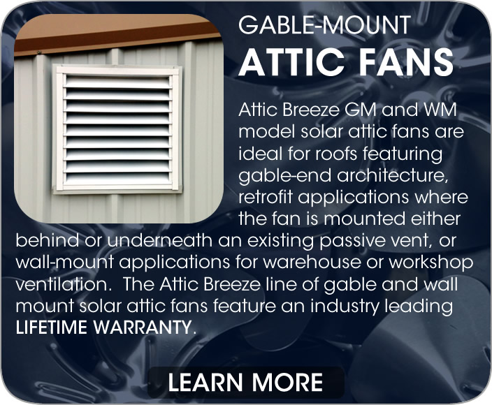 Attic Breeze gable mount and wall mount solar attic fans