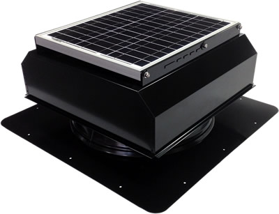 AB-3022A-BLK solar attic fan in jet black finish