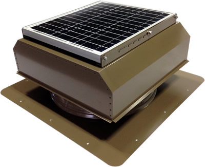 AB-3022A-SKW solar attic fan in shakewood finish