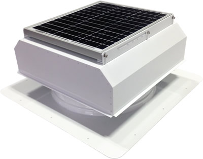 AB-3022A-WHT solar attic fan in polar white finish