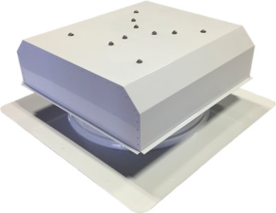 AB-3022D-WHT solar attic fan in polar white finish