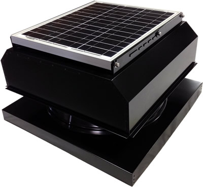 AB-3042A-BLK solar attic fan in jet black finish