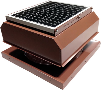 AB-3042A-HCK solar attic fan in hickory finish