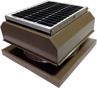 AB-3042A-SKW solar attic fan in shakewood finish