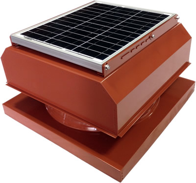 AB-3042A-TCT solar attic fan in terra cotta finish