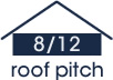 8:12 roof pitch (34 degree slope)