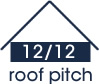 12:12 roof pitch (45 degree slope)